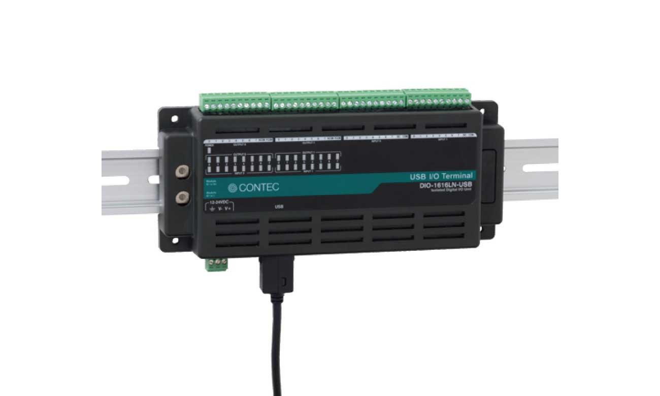 コンテック DIO-1616LN-USB USB I/Oユニット デジタル出力 16ch/16ch (絶縁 12 ~ 24VDC) - Nシリーズ